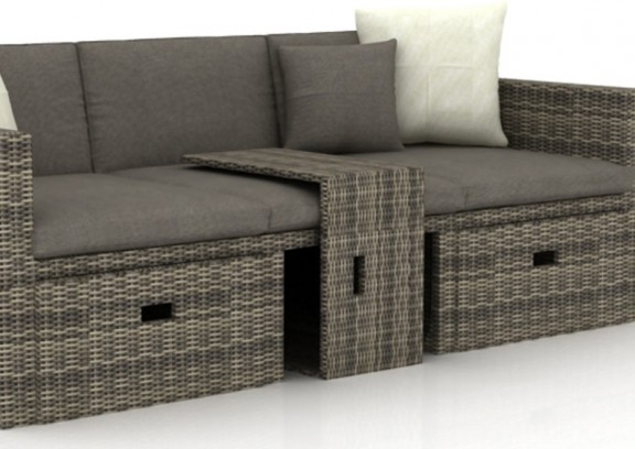 rattan loungem bel hannover 3 5 sitzer farbe grau braun meliert. Black Bedroom Furniture Sets. Home Design Ideas