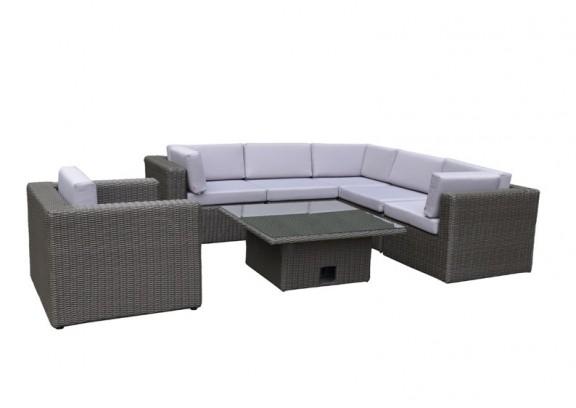Garden Select Rattan Loungegruppe Möbel Set 3 Turino - Farbe: dunkelgrau/grau