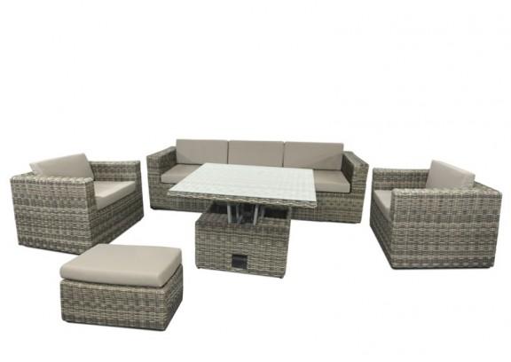 Garden Select Rattan Loungegruppe Möbel Set 2 Turino - Farbe: grau-braun meliert