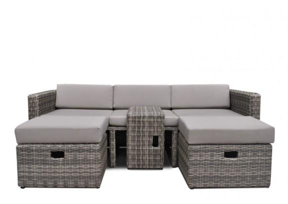 rattan loungem bel hannover 3 5 sitzer farbe grau braun meliert. Black Bedroom Furniture Sets. Home Design Ideas