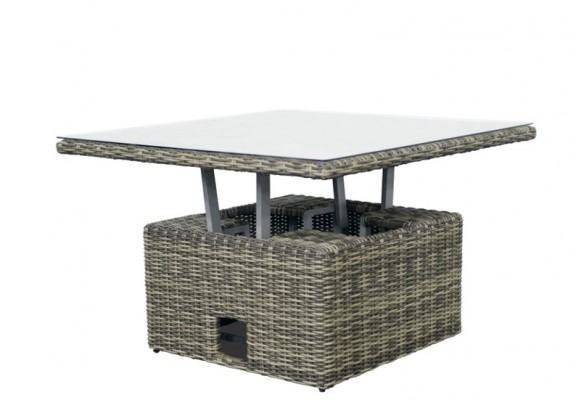 Garden Select Rattan Loungeelement Turino Höhenverstellbarer-Tisch - Farbe: grau-braun meliert