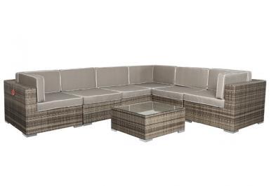 Garden Select Rattan Loungemöbel Set Espace Set 0 - 6 Sitze inkl. Kissen - Farbe: braun grau