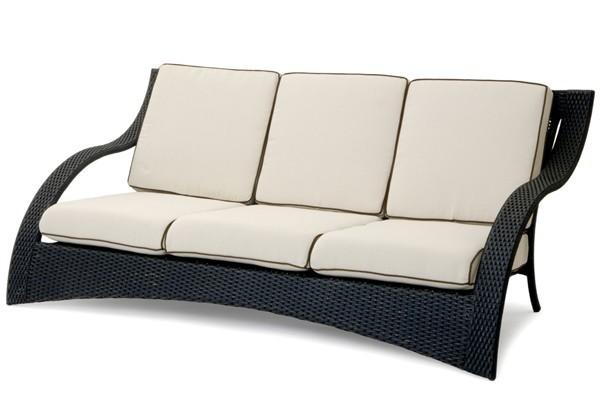 landmann garvida rattan 3er sofa venezia inkl polster schwarz. Black Bedroom Furniture Sets. Home Design Ideas