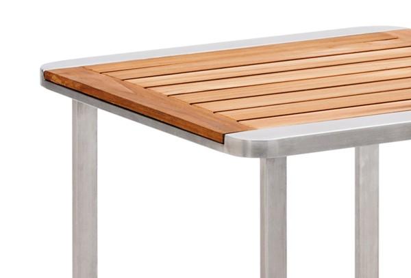 landmann garvida beistelltisch cabrera aus edelstahl mit teakholz tischplatte 45x45x42cm. Black Bedroom Furniture Sets. Home Design Ideas