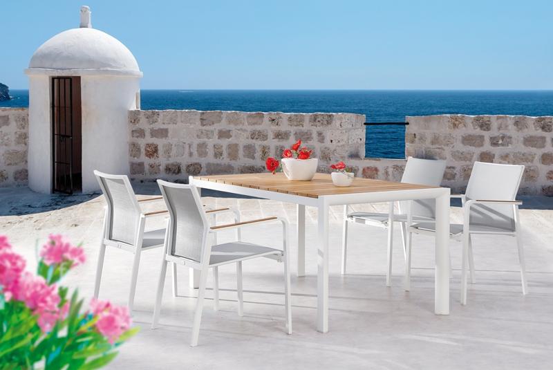 Balkonmöbel set weiß  Best Paros Gartenmöbel-Set - Aluminium/Ergotex/Teak in weiß/grau