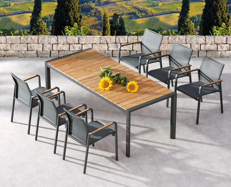 best gartentisch paros dining teakholz tisch rechteckig aluminium teakholz anthrazit. Black Bedroom Furniture Sets. Home Design Ideas