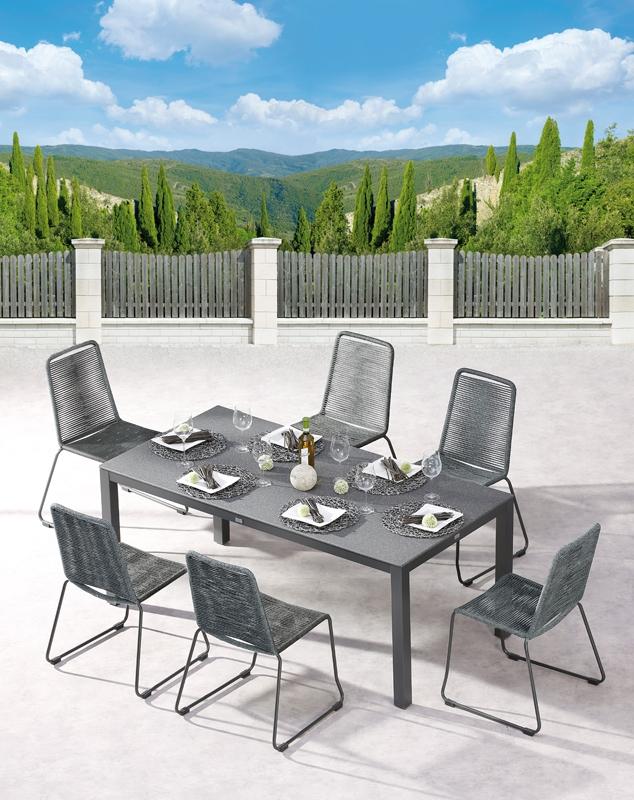 best symi gruppe 7 teilig essgarnitur stahl fishbone geflecht. Black Bedroom Furniture Sets. Home Design Ideas