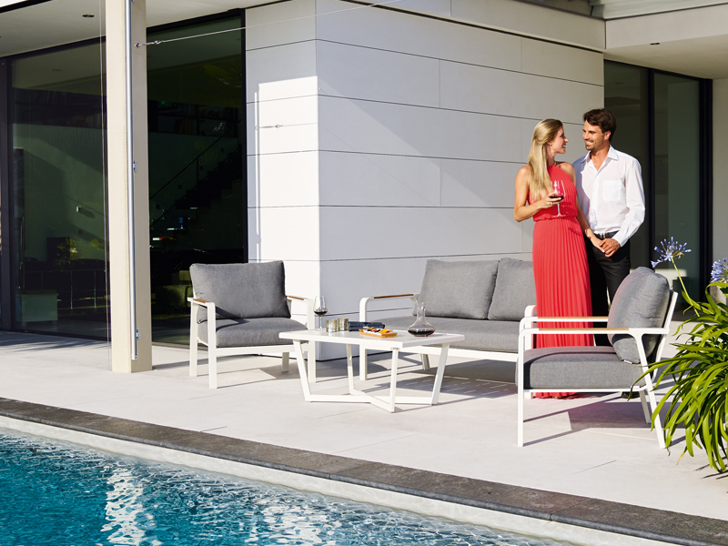 Sieger Aluminium Lounge Gruppe Serie NASSAU, weiß / grau 2-Sitzer Sofa