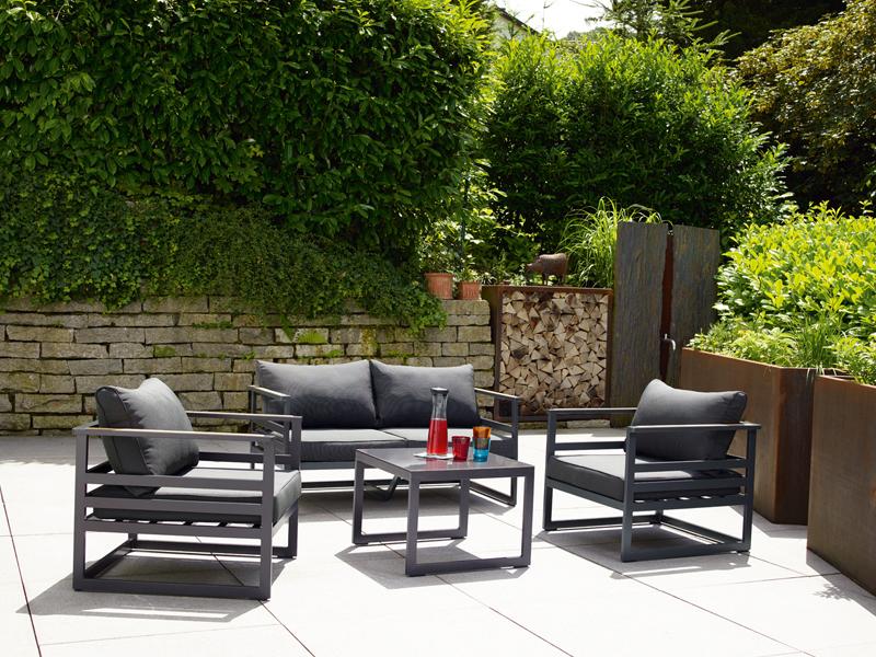 sieger aluminium lounge gruppe serie sydney eisengrau grau eckteil. Black Bedroom Furniture Sets. Home Design Ideas