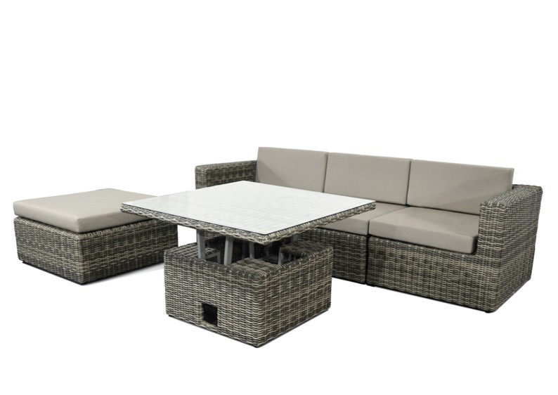 rattan loungegruppe m bel set 1 turino farbe grau braun meliert. Black Bedroom Furniture Sets. Home Design Ideas