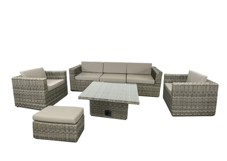 rattan loungegruppe m bel set 2 turino farbe grau braun meliert. Black Bedroom Furniture Sets. Home Design Ideas