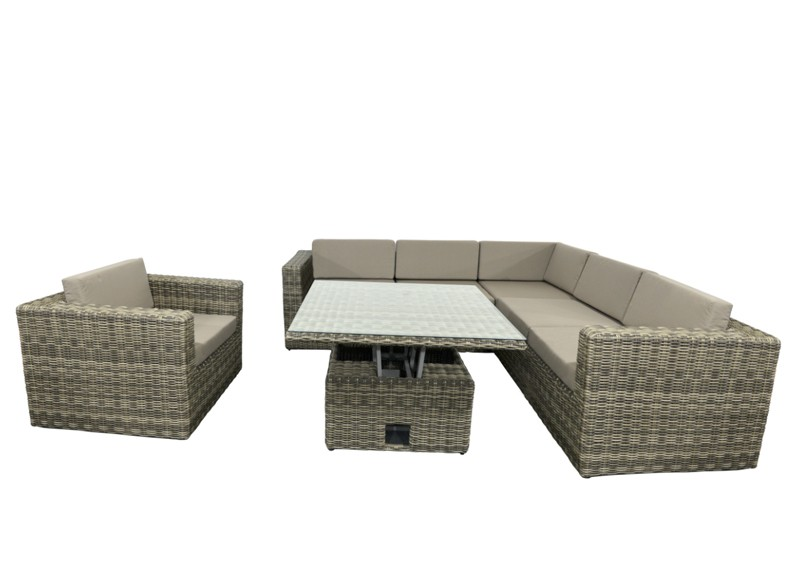 rattan loungegruppe m bel set 3 turino farbe grau braun. Black Bedroom Furniture Sets. Home Design Ideas