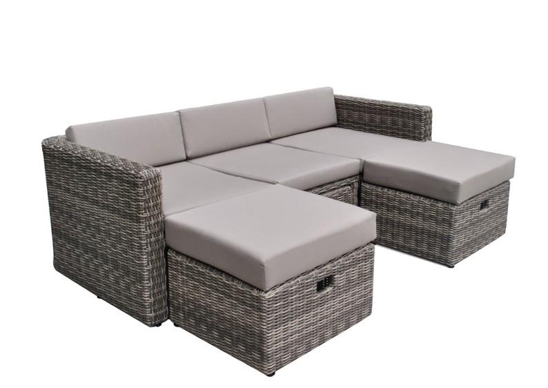 Rattan lounge grau günstig  Rattan Loungemöbel Gartensofa Hannover 3-5 Sitzer - Farbe: grau ...