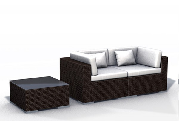 rattan lounge espace luxus start 1 2 sitze inkl kissen farbe dunkelbraun. Black Bedroom Furniture Sets. Home Design Ideas