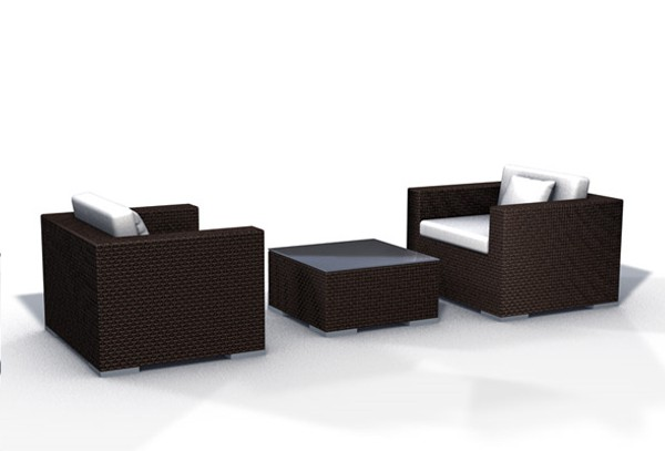 rattan lounge espace luxus start 3 2 sitze inkl kissen farbe dunkelbraun. Black Bedroom Furniture Sets. Home Design Ideas