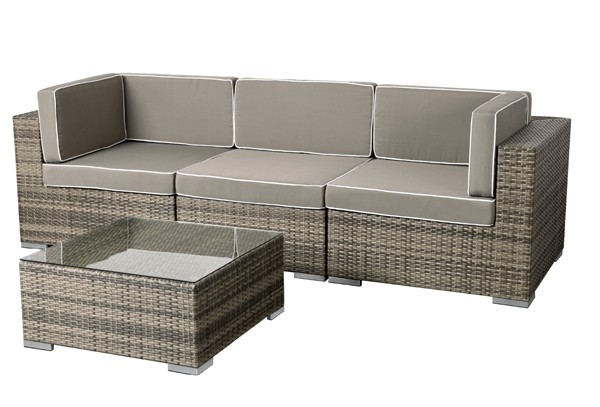 rattan xxl loungem bel set espace 4 4 teilig farbe grau braun meliert. Black Bedroom Furniture Sets. Home Design Ideas