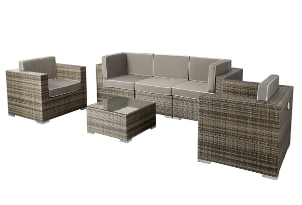 rattan xxl loungem bel set espace 8 6 teilig farbe grau braun meliert. Black Bedroom Furniture Sets. Home Design Ideas