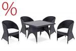 SONDERPOSTEN: Landmann Rattan Essgruppe Minois - 4 Sitze mit Tisch 100x100cm - Farbe: Schwarz