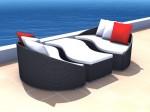 Rattan Lounge Balance Set - 6 Sitze inkl. Kissen - Farbe: Schwarz
