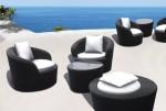 Rattan Balkonmöbel Rollo Set - Drehbar 2 Sitze mit Tisch - Farbe: Schwarz