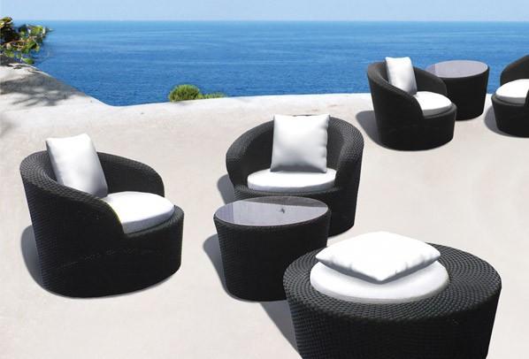 Rattan Balkonmöbel Rollo Set - Drehbar - 2 Sitze mit Tisch