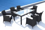 Rattan Essgruppe Linea Set 3 - mit 6 Sesseln - Farbe Schwarz