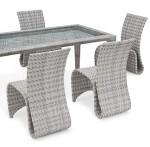 Landmann Rattan Essgruppe Fiorana 4 - 6 Sessel - Farbe: Silk White