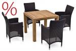 SONDERPOSTEN: Landmann Rattan Essgruppe Astena - 4 Sitze mit Tisch 90x90cm - Farbe: Teak