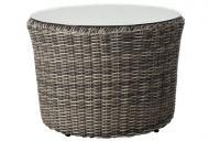 Rattan Tisch Rollo Tisch incl. Glasplatte - Farbe: braun-meliert