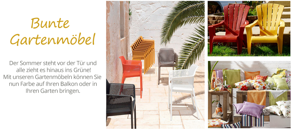 bunte gartenm bel f r balkon terrasse online fachh ndler. Black Bedroom Furniture Sets. Home Design Ideas