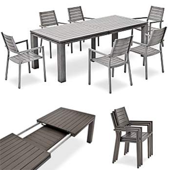zeitlose garten essgruppe listello aus aluminium hier kaufen. Black Bedroom Furniture Sets. Home Design Ideas