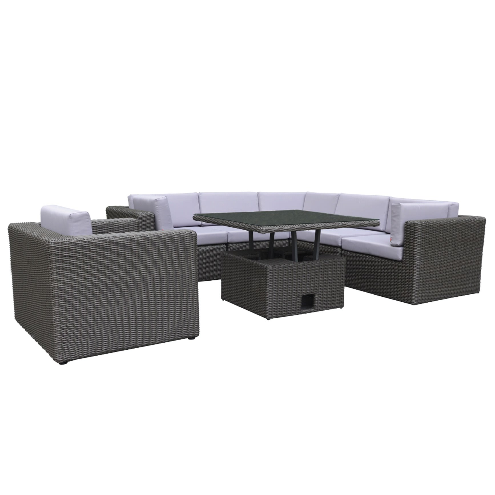 polyrattan loungem bel in grau braun und dunkelgrau sofort lieferbar. Black Bedroom Furniture Sets. Home Design Ideas