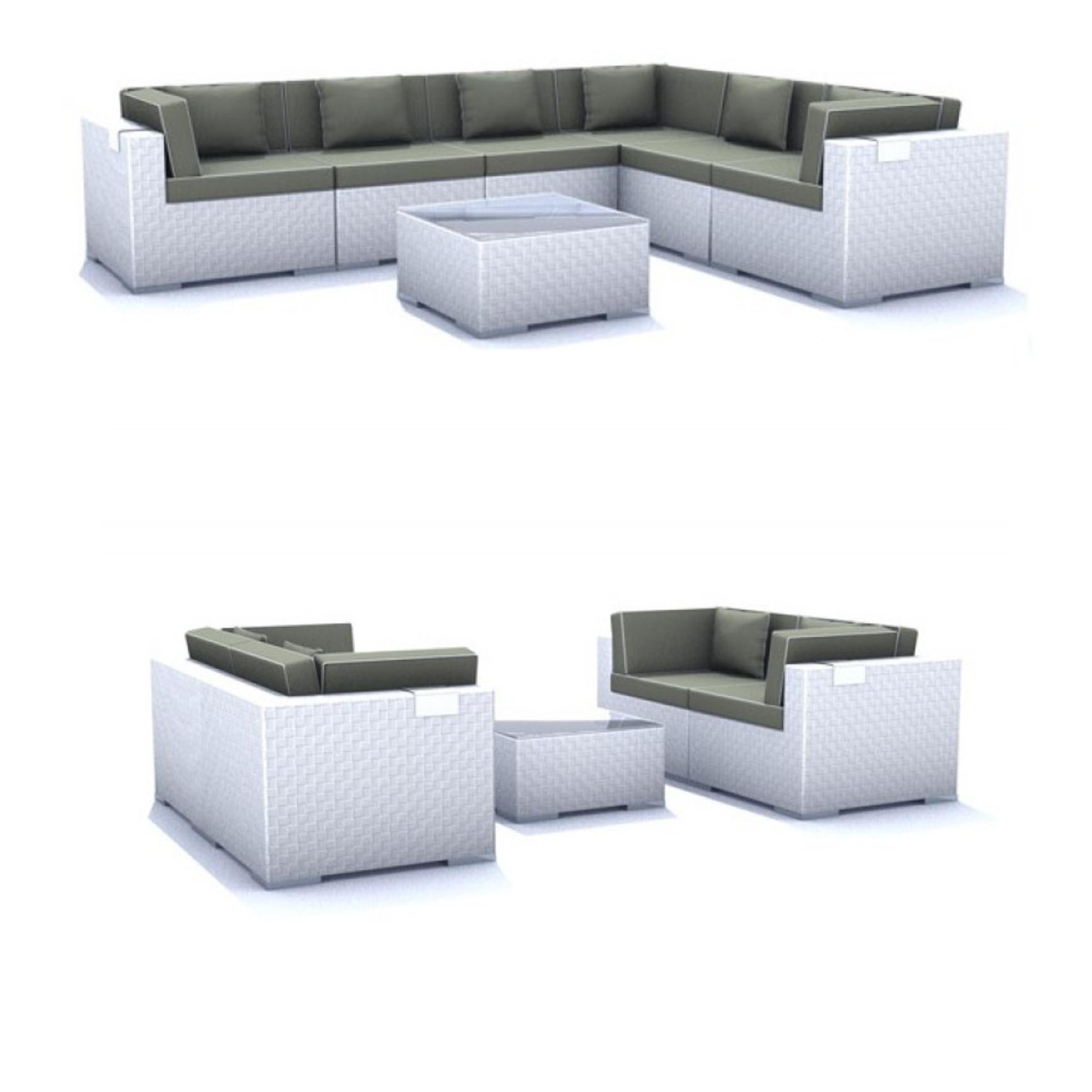 rattan lounge grau wei. Black Bedroom Furniture Sets. Home Design Ideas